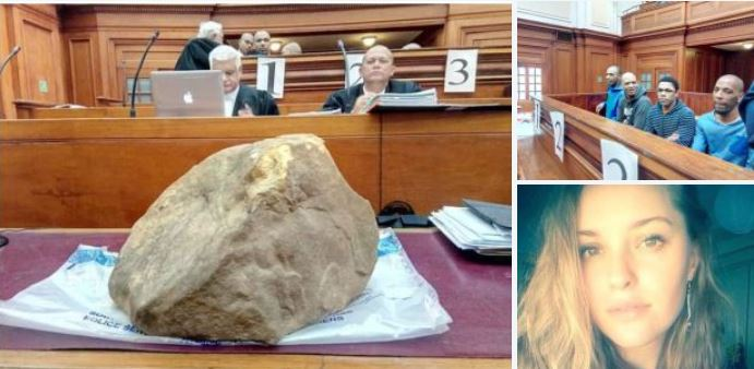 Court in South Africa is stunned as two-foot, 82lb rock used to smash college student to death as she was held down after being kidnapped and gang-raped is shown